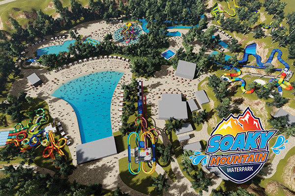 digital drawing of the overview of soaky mountain waterpark
